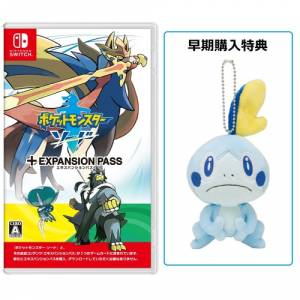 Pokemon Sword + Expansion pass + Plush Sobble POKEMON CENTER LIMITED EDITION [Switch]