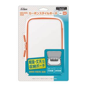 New 2DS LL/New 3DS LL/3DS LL Carbon Style Pouch / White x Orange [NEW 2DS]