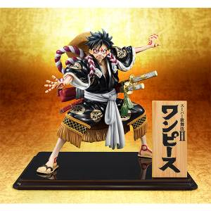 FREE SHIPPING - One Piece - Monkey D. Luffy Kabuki Replay / Black Ver. Limited Edition [Portrait Of Pirates]