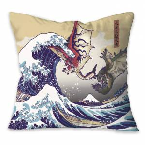 Monster Hunter - Ukiyoe Cushion Rathalos & Rathian x Fugaku [Goods]